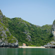 Temple on secluded beach, HLong Bay, Vietnam — Stock Photo #28822685