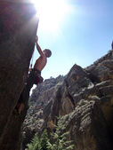 Rock climbing in Ten Sleep, Tetons, Wyoming — Stock fotografie