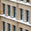 Heavy snow in New York City, gathered on loft building. — Stock Photo