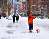 Mounted policeman walks horse and resident walks dog in snow, Lo — Stock Photo