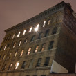 Historic loft building at night, Tribeca. — Stock fotografie