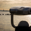 Stock Photo: Statue of Liberty as seen from telescopes at Pier 25, Hudson Riv