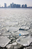 Ice floes on the Hudson River, New York, with a view of Jersey C — Stock Photo