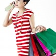 Beautiful woman with a lot of shopping bags — Stock Photo