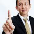 Young businessman giving hand symbol isolated — Stock Photo