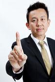 Jonge zakenman geven hand symbool geïsoleerd — Stockfoto