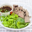 Boiled liver and morning glory with spicy sauce — Stock Photo #28244587