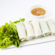 Fresh Handmade Vegetable Spring Rolls On White Surface — Stock Photo