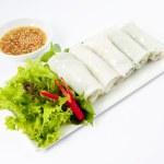 Fresh Handmade Vegetable Spring Rolls On White Surface — Stock Photo #28249375