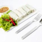 Fresh Handmade Vegetable Spring Rolls On White Surface — Stock Photo #28249389