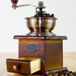 Vintage wooden coffee mill grinder — Stock Photo
