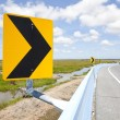 Danger curve road sign with blue sky — Stock Photo #28263121