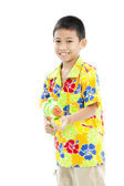 Songkran festival (water festival) Smiling asian boy — Zdjęcie stockowe