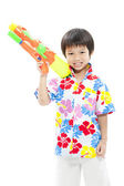 Songkran festival (water festival) Cute boy — Stock Photo