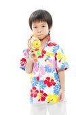 Songkran festival (water festival) Cute boy — Stock Photo