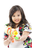 Songkran festival (water festival) Pretty asian girl — Stock Photo