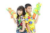 Niña y niño con bones — Foto de Stock