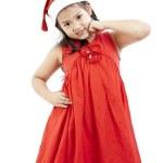 Portrait of happy little girl in Santa dress — Stock Photo #29327159