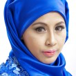 Muslim woman in blue clothes — Stock Photo