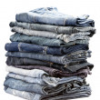 Stock Photo: Lot of different blue jeans