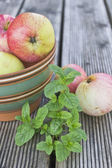 Apples on a plate and bush of mint — Stock Photo