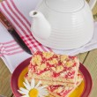 Cake on a plate and tea  — Stock Photo