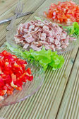 Diced ham and vegetables — Stock Photo