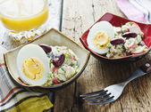 Bean salad, crab meat and eggs — Stock Photo