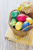 Sepet içinde Paskalya yumurtaları — Stok fotoğraf