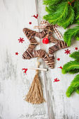 Christmas star made of twigs — Stock Photo