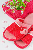 Female slippers with hearts, — Stock Photo