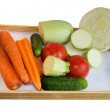 Vegetables on a wooden tray — Stock Photo