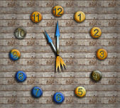 Vintage clock on a background of aged wood — Stock Photo