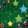 Christmas green background with stars and baubles — ストック写真