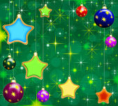Christmas green background with stars and baubles — Stock Photo