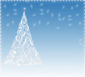 Blue christmas background with highlights and a white Christmas — Stock Photo