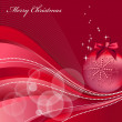 Christmas red background with stars and baubles — Stock Photo