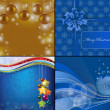 4 Christmas blue background with stars and baubles — Stock fotografie
