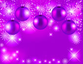 Christmas violet background with stars and baubles — Stock Photo