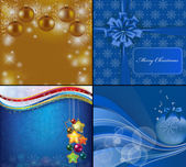 4 Christmas blue background with stars and baubles — Stock Photo
