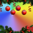 Christmas background with fir wreath, balloons and streamers — Stock fotografie