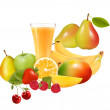 Fruit, peaches, apples, pears, mangoes, cherries, raspberries, s — Stock Photo
