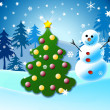 Decorated Christmas tree in winter forest and snowman near — Stock Photo