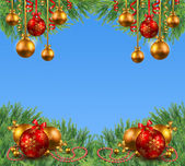 Blue and white Christmas background with fir branches and Christ — 图库照片