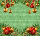 Light green Christmas background with fir branches and Christmas — 图库照片