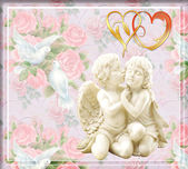 Angels in love on a gentle flower background — Stock Photo