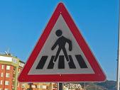 Road sign crosswalk — Stock Photo