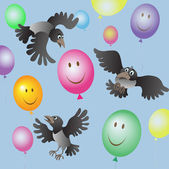 A flock of crows and colored balloons — Vecteur