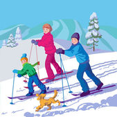 Happy family is skiing in the winter day — 图库矢量图片