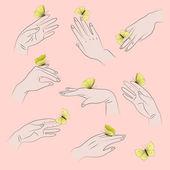 Hands and butterflies — Stock vektor
